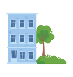 building residential high tower tree bush isolated vector image