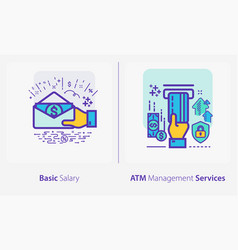 business and finance concept icons basic salary vector image
