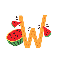 Capital letter w childish english alphabet with vector