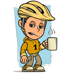 cartoon cyclist boy character with cup coffee vector image