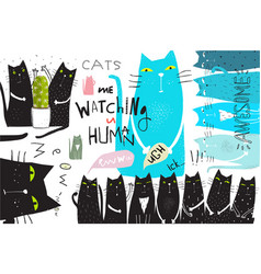 cats collage poster graphic design vector image