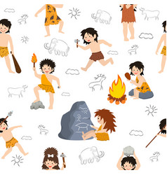 caveman kids primitive children character vector image