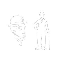 Charlie Chaplin Linear style Black vector