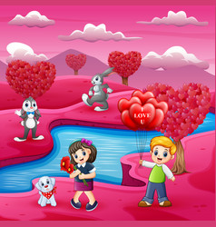 Childrens cartoons celebrate valentine day with ma vector