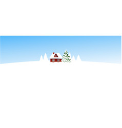 christmas winter landscape with small settlement vector image