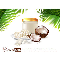 Coconut oil realistic poster vector