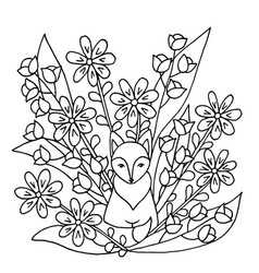 Coloring page with fox and flowers vector
