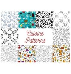Cuisine kitchen utensils chef hat patterns set vector