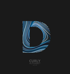 curly textured letter d vector image