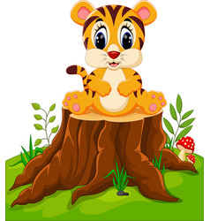 Cute baby tiger sitting on tree stump vector