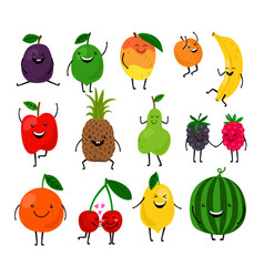 cute fruit characters for kids vector image