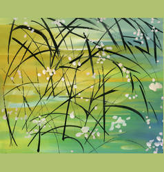 Dark grass with flowers on abstract background vector