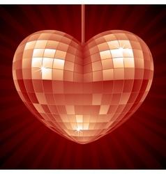 Disco heart red mirror ball vector