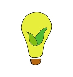 Doodle style bulb with leaves as eco energy symbol vector