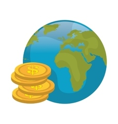 Earth planet and money vector