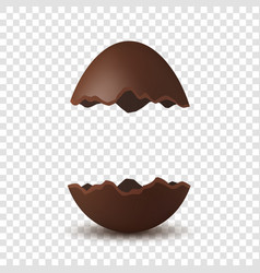 Easter broken egg 3d chocolate brown open egg vector