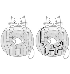 Easy hungry cat maze vector