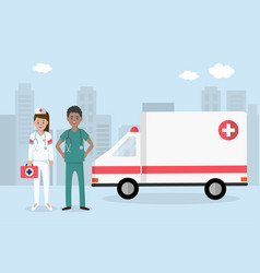 emergency medical staff with ambulance in big city vector image