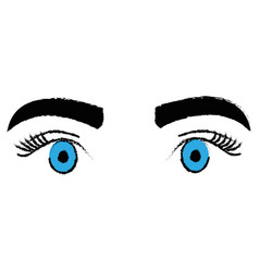 Eyes with eyebrow icon vector