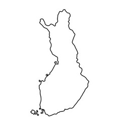 Finland map of black contour curves of vector