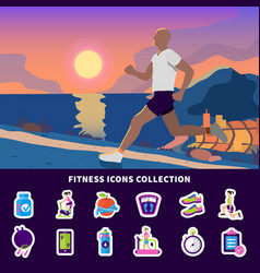 fitness icons collection vector image