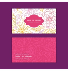 Flowers outlined horizontal frame pattern business vector