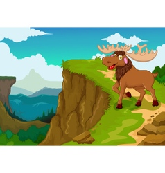 Funny moose cartoon with mountain cliff landscape vector