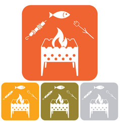 Grilled fish zephyr and kebab icon vector
