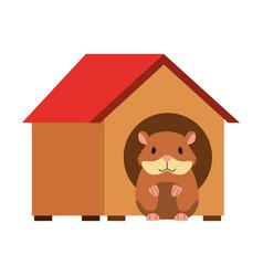 Hamster pet in wooden house vector