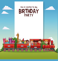 Happy birthday card training vector images over 100 happy birthday card with kids on train vector bookmarktalkfo Image collections