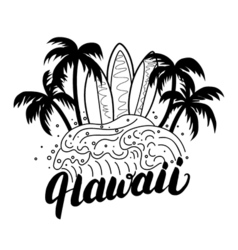 hawaii hand lettering surf poster tee print vector image