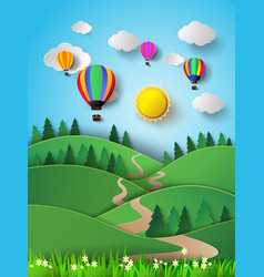 hot air balloon high in the sky with sunlight vector image