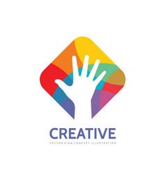 human hand - logo template concept vector image