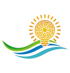 Idea of sunset light bulb leaves line symbol vector