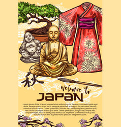 Japanese kimono pagoda bonsai and buddha statue vector