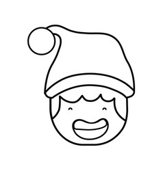 line avatar boy head with christmas hat vector image