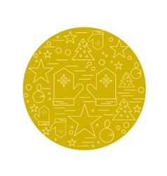 Line christmas icons set linear symbol vector image