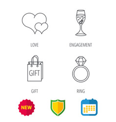 love heart gift bag and wedding ring icons vector image