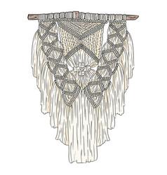 Macrame bohemian style wall hanger doodle textile vector