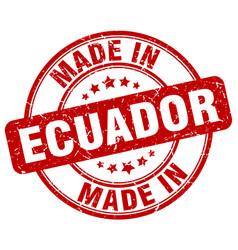 Made in ecuador red grunge round stamp vector