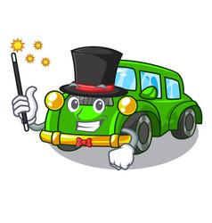 Magician classic car toys in cartoon shape vector