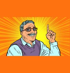 Man aged index finger up vector