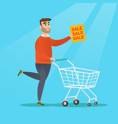 Man running in a hurry to the store on sale vector