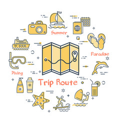 map with route and summer vacation icons vector image