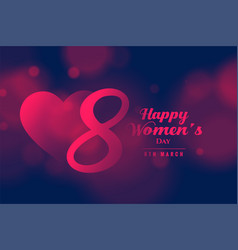 March 8th happy womens day beautiful greeting vector