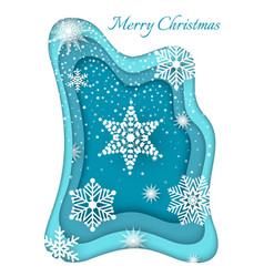 Merry christmas paper cut white snowflake vector