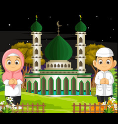 Mosque with muslim couple cartoon vector