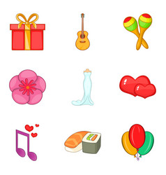 musical gift icons set cartoon style vector image