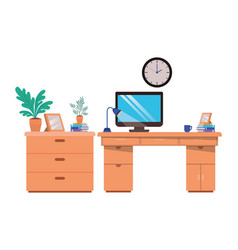 office desk with computer isolated icon vector image
