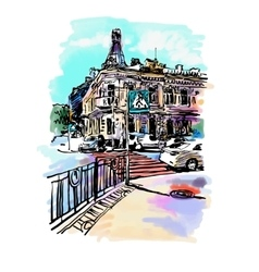 Original digital sketch watercolor of Kyiv vector